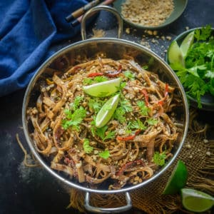 These Asian Pad Thai Noodles are Thai style spicy rice noodles that are super easy to make at home. Make this authentic Asian treat vegetarian or with chicken and shrimp, you are going to love it.