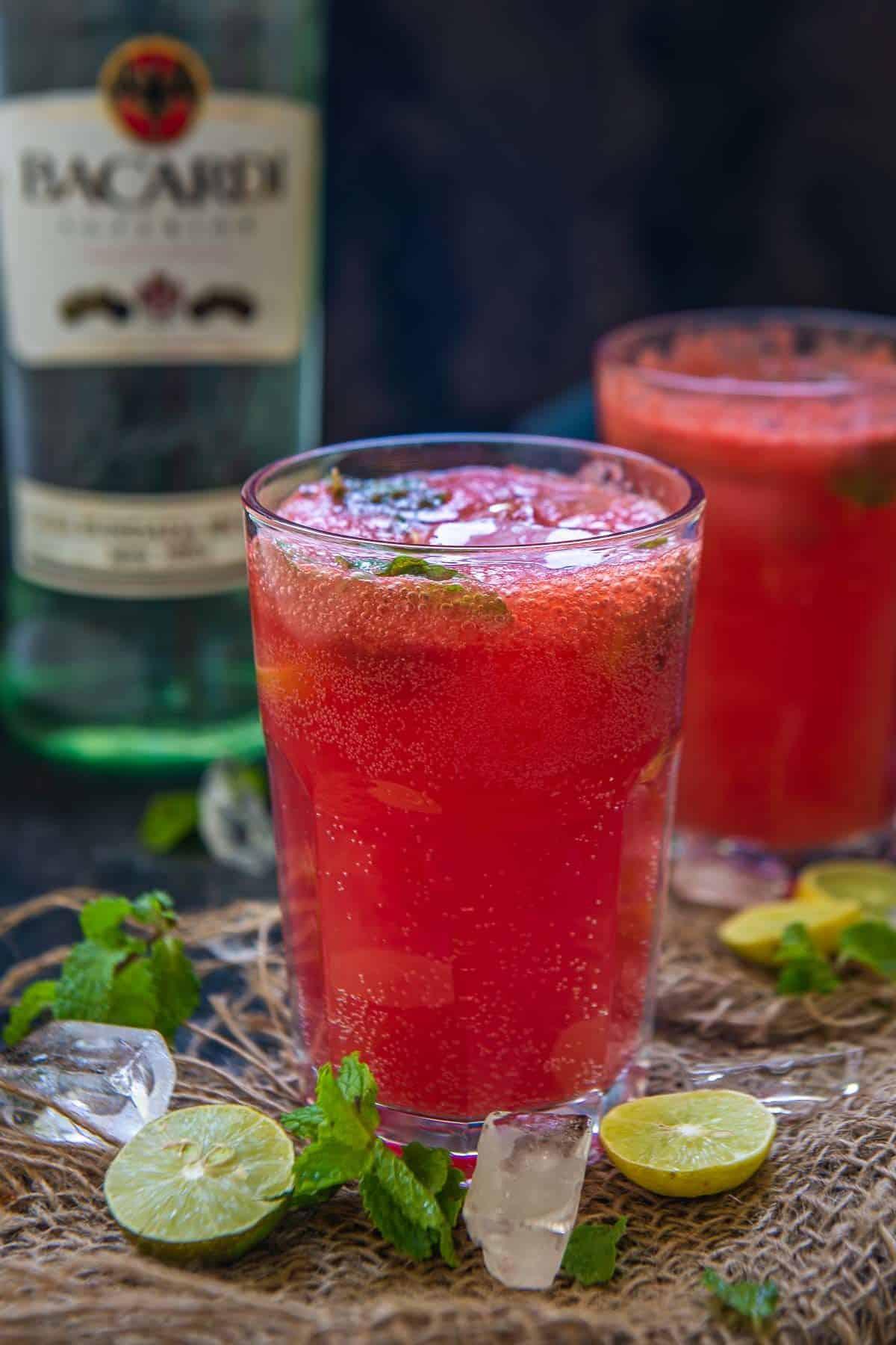 watermelon mojito served in a glass.