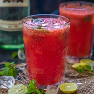 Watermelon Mojito is a refreshing summer cocktail made using fresh watermelon juice, white rum, and soda. Make a big pitcher of this watermelon mint mojito and enjoy this summer.