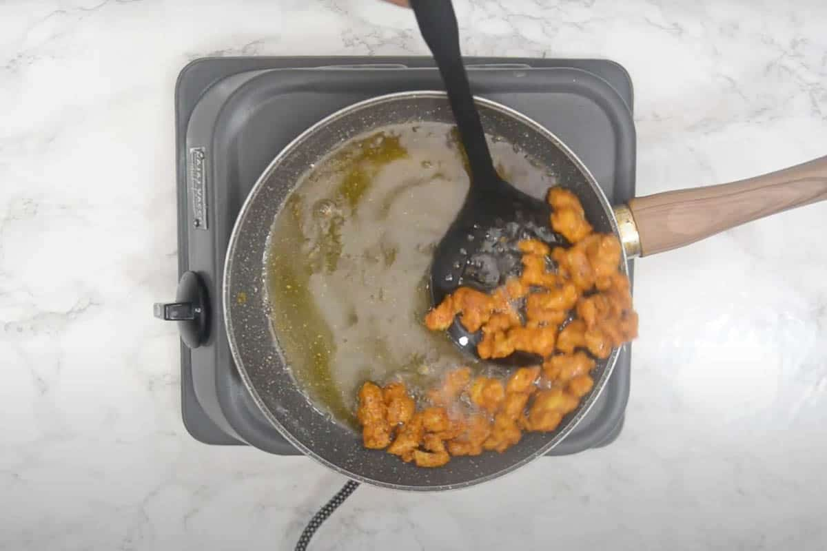Double frying the chicken.