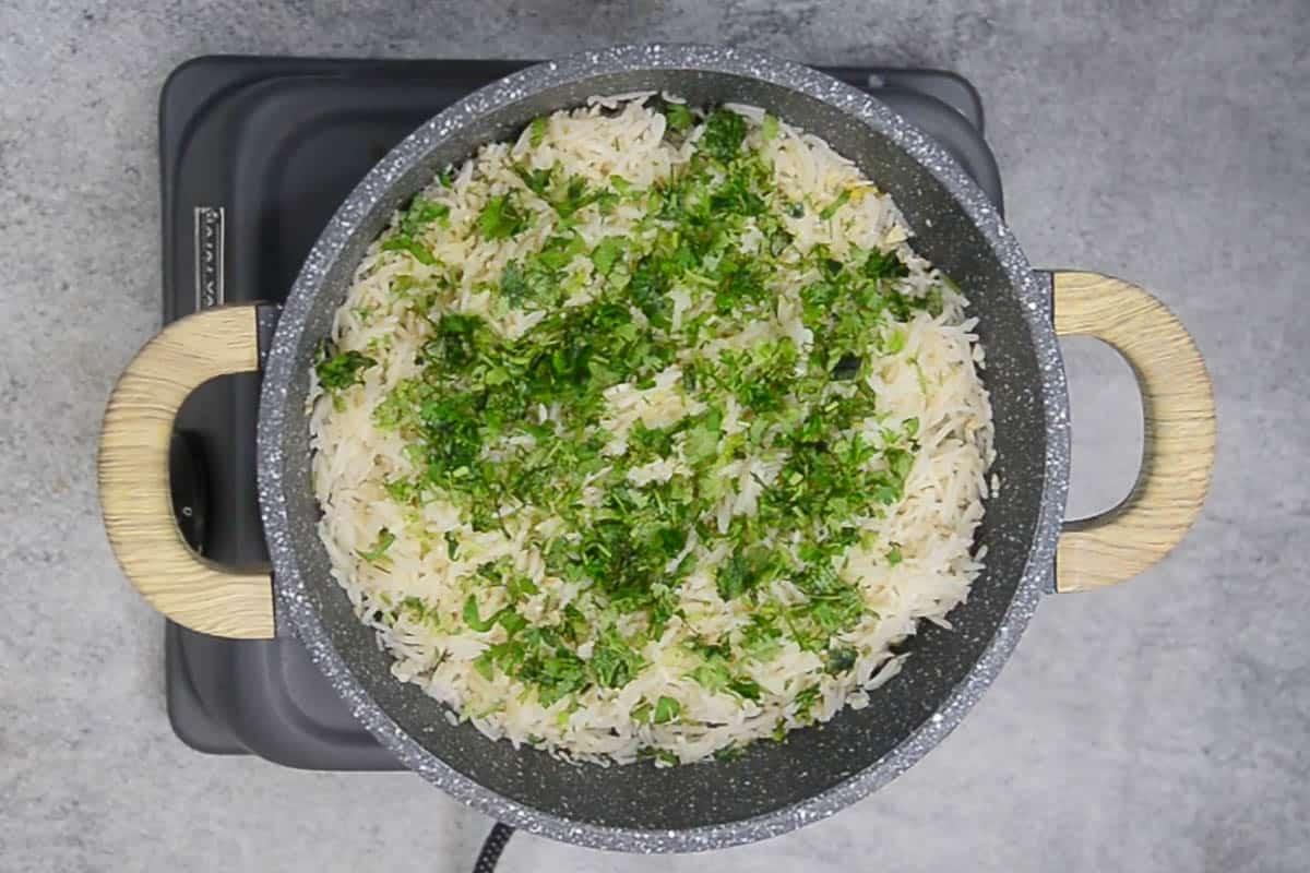 Ready lemon cilantro rice.