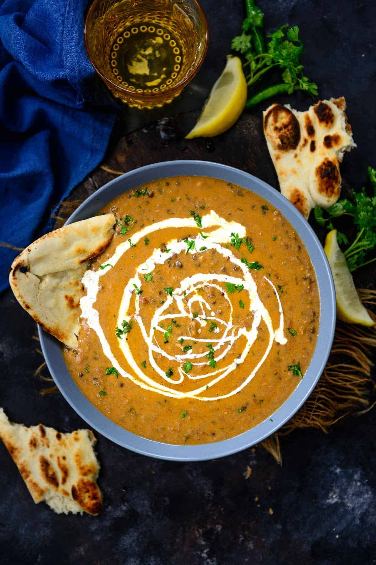 Dal Makhani served in a bowl.