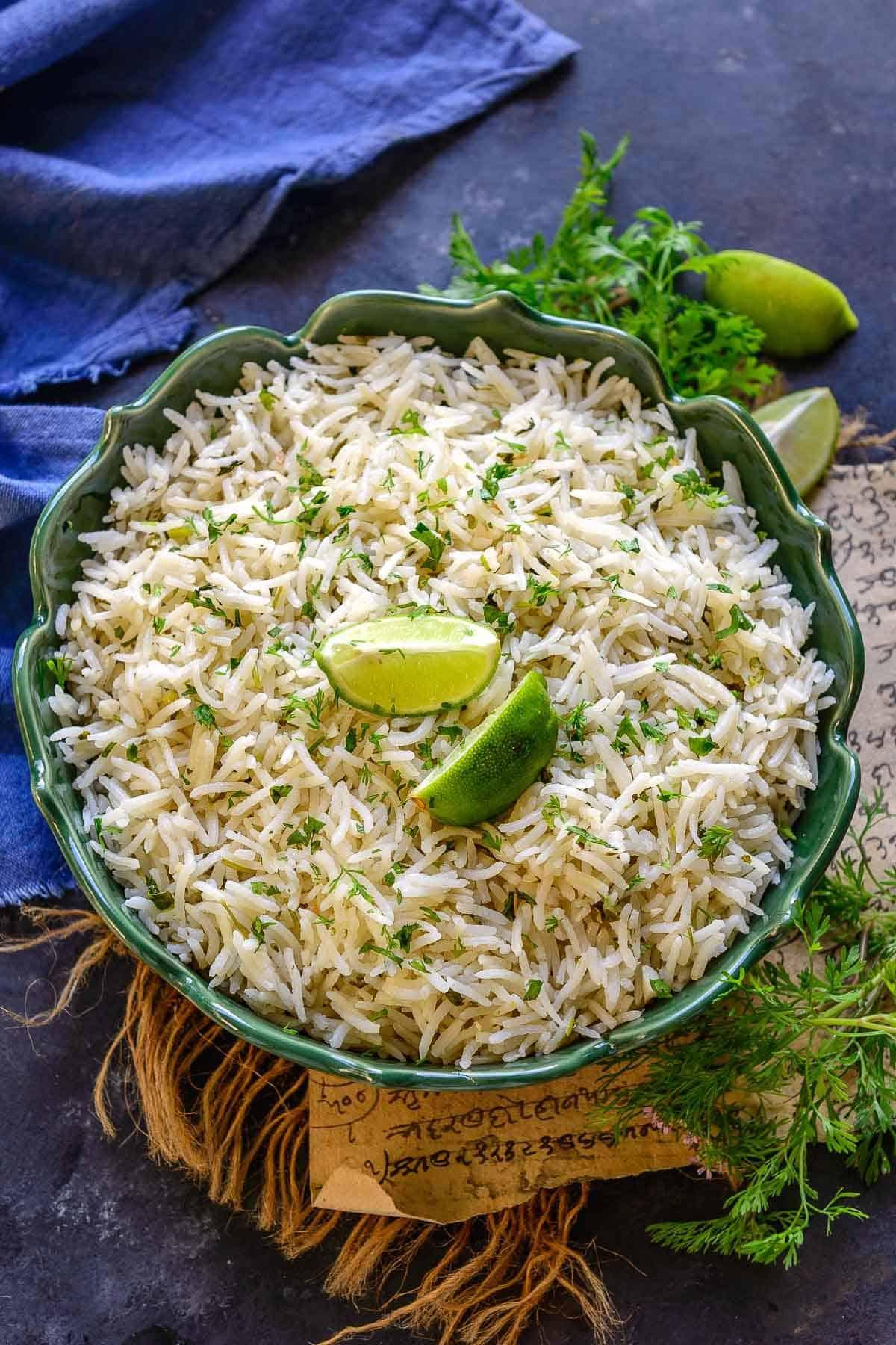 Lemon cilantro rice served in a bowl.