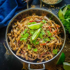 Made using simple ingredients, homemade Pad Thai Noodles come together in under 30 minutes. Customize with whatever vegetables, tofu, meat, seafood, or sauces you prefer.