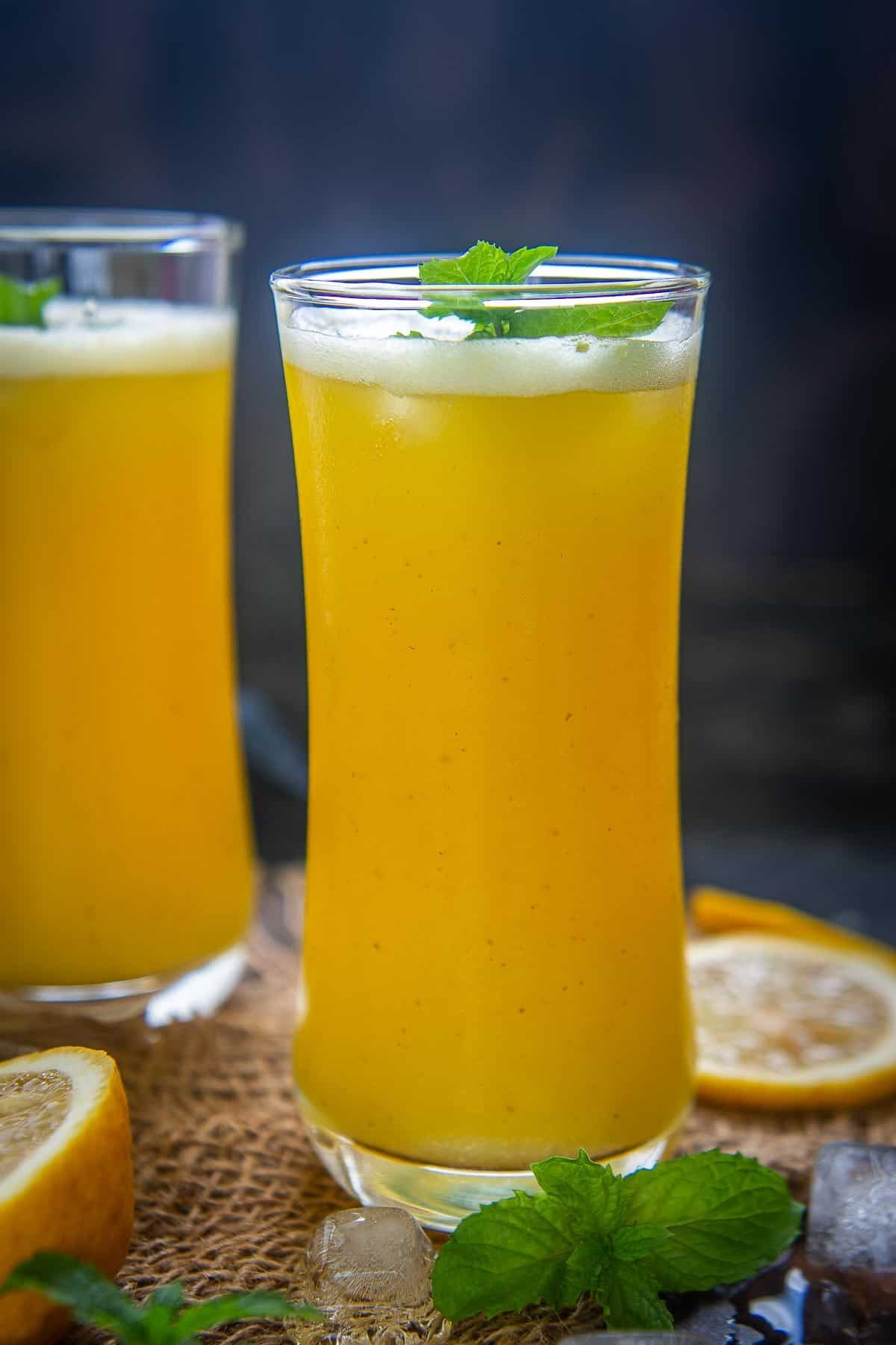 Pineapple juice served in a glass.