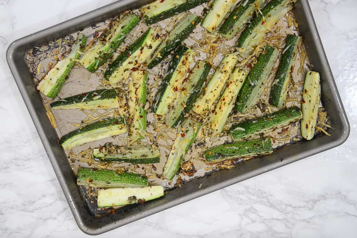 Ready oven roasted zucchini.