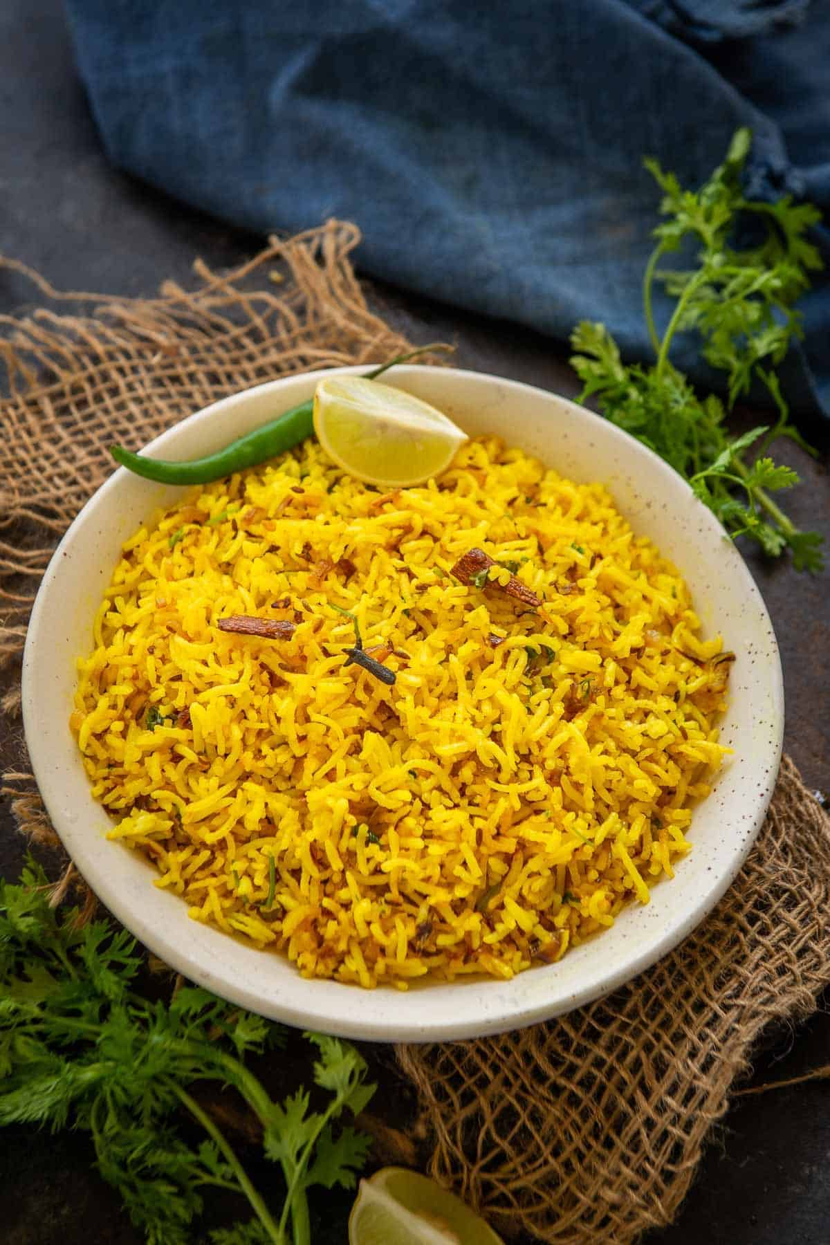 Turmeric rice served in a bowl.
