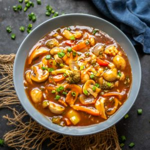 A medley of vegetables in a spicy and flavorsome garlic sauce, this Chinese-style vegetables in hot garlic sauce is a sure shot hit for quick and easy meals. Serve it with fried rice or noodles for a hearty meal (vegan, gluten-free).