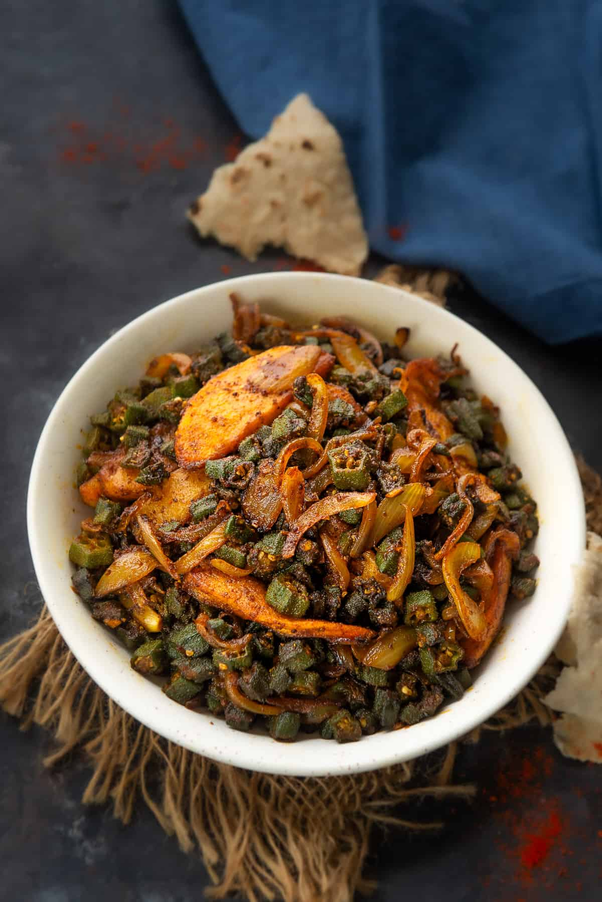 Aloo Bhindi served in a bowl.