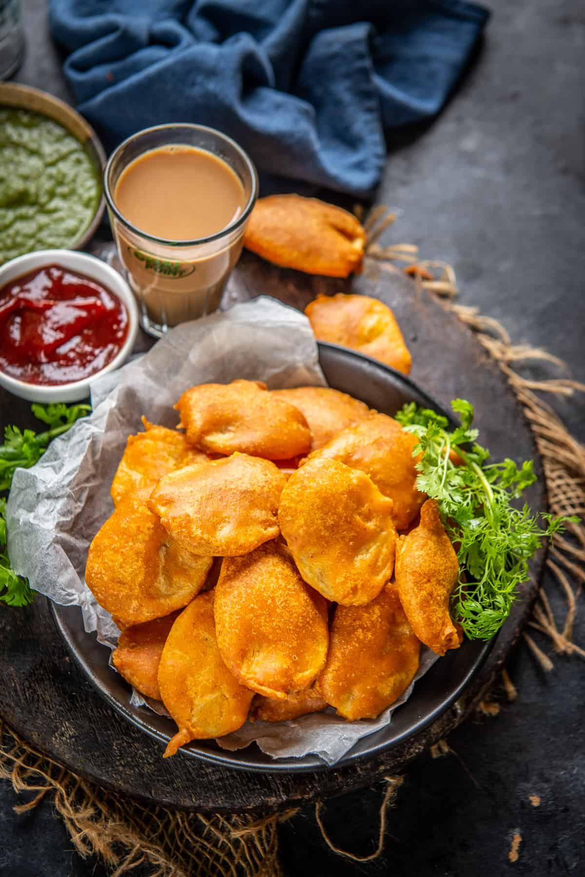 Aloo Pakora served on a plate.