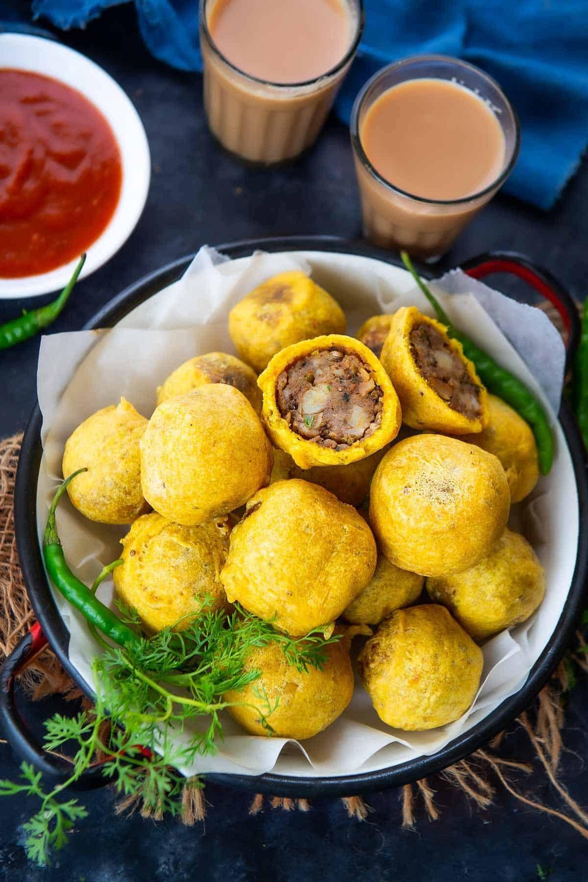 Batata Vada served on a plate.