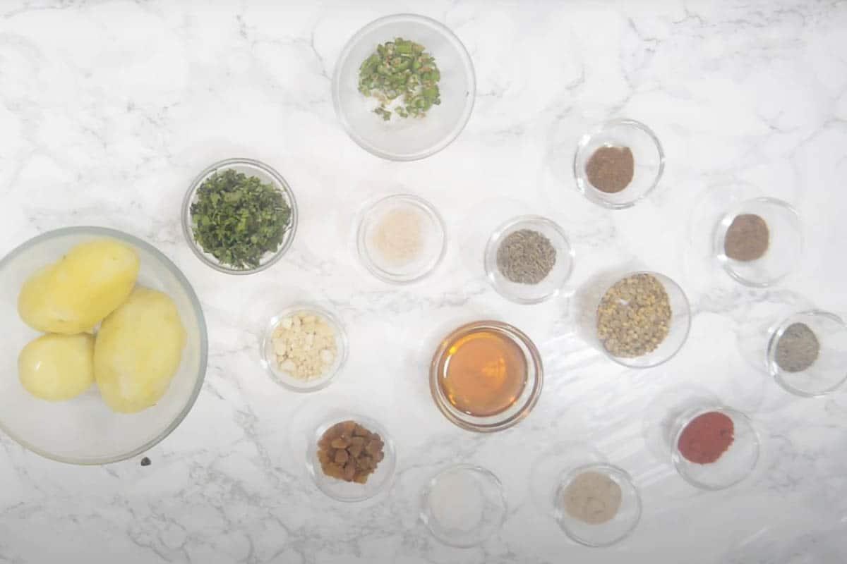 Potato filling ingredients.