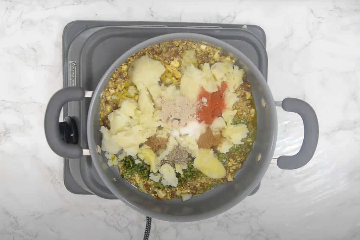 Remaining filling ingredients added to the pan.