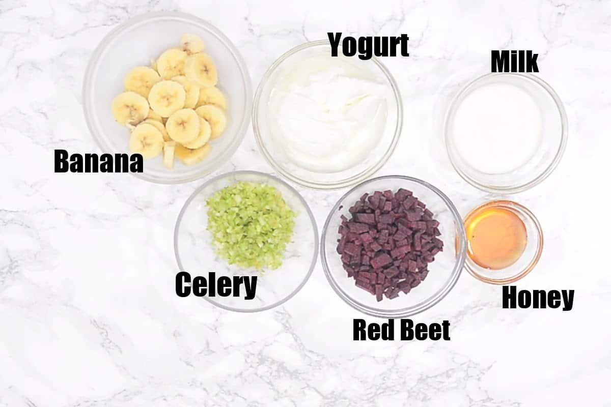 Beet Smoothie Ingredients.