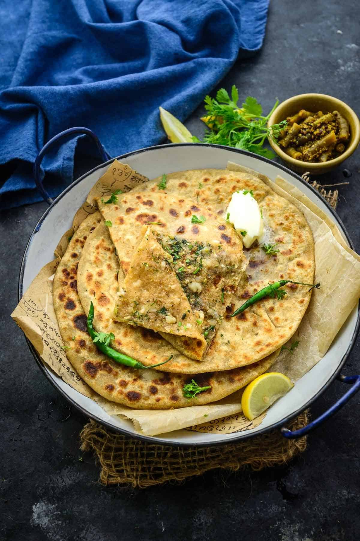 Broccoli Paratha served on a plate.