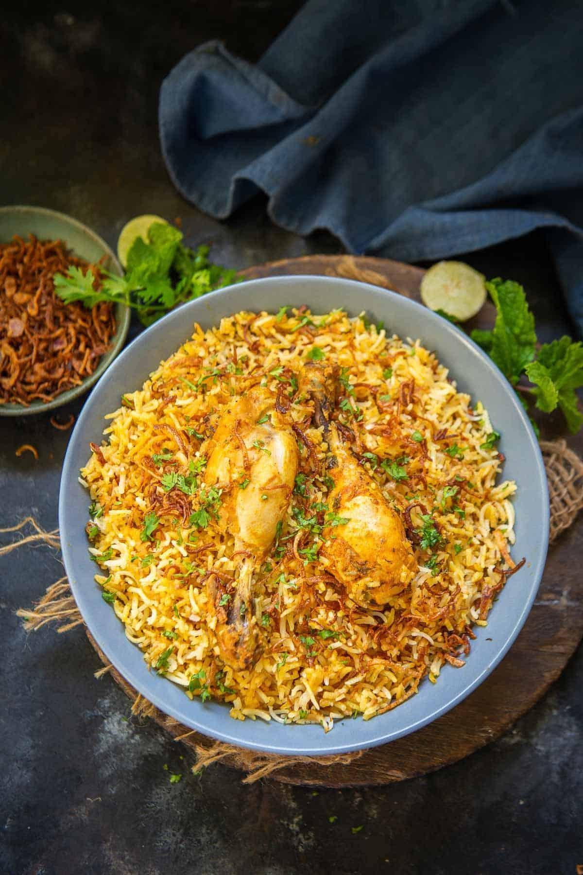Hyderabadi chicken served in a bowl.