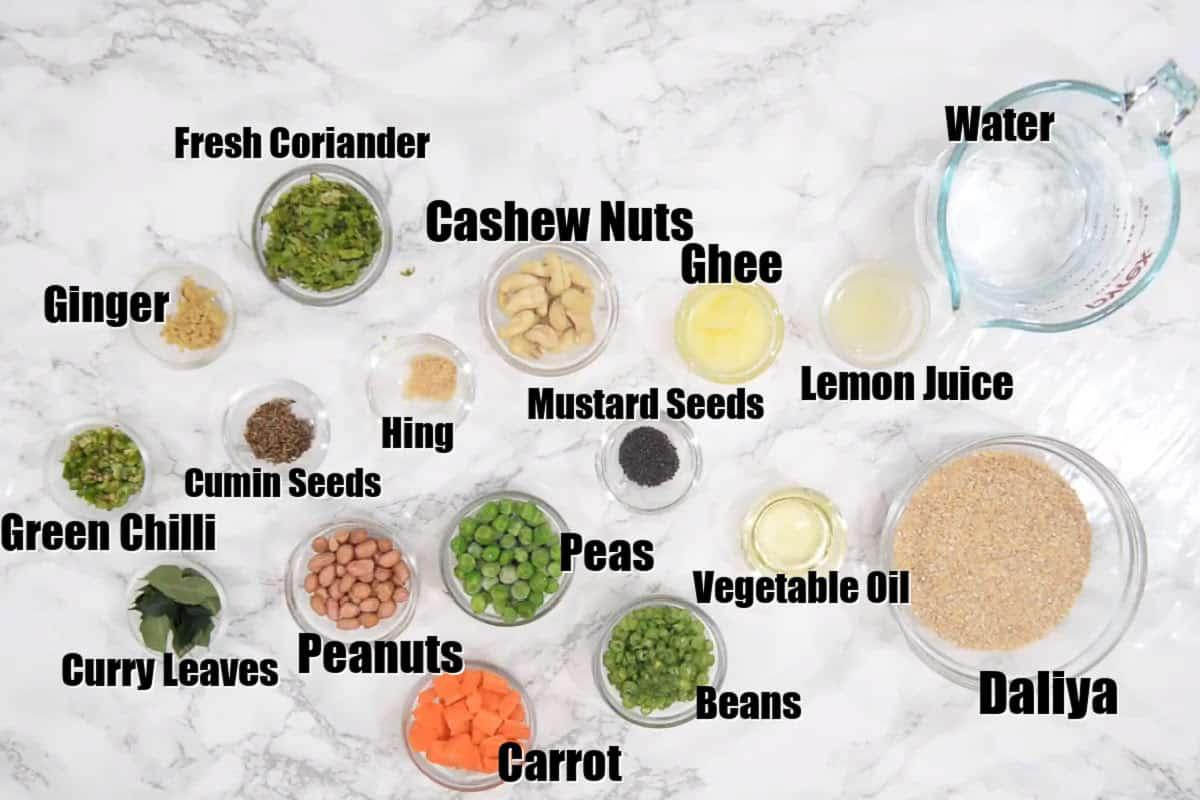 daliya Upma Ingredients.