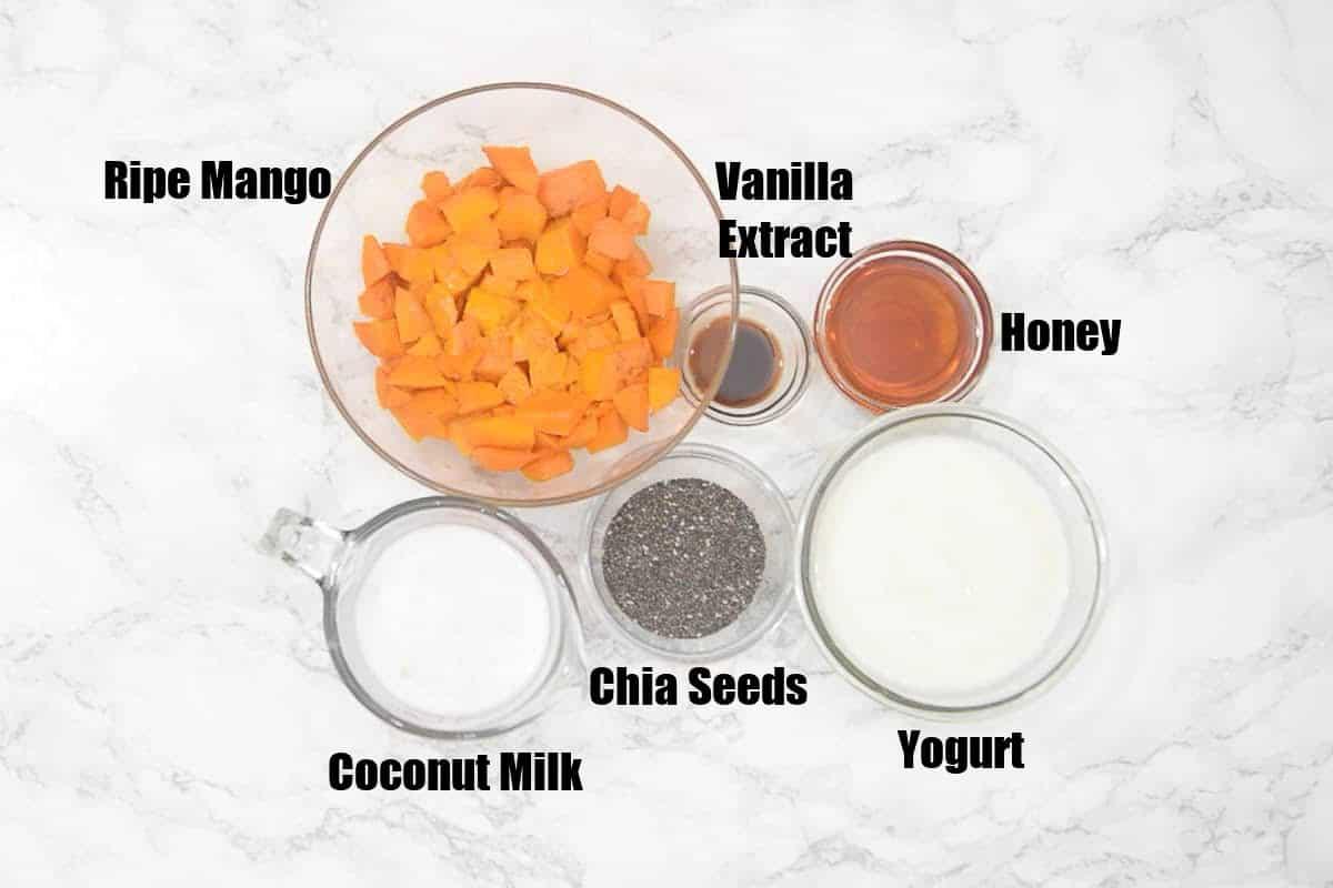 Mango Chia pudding Ingredients.