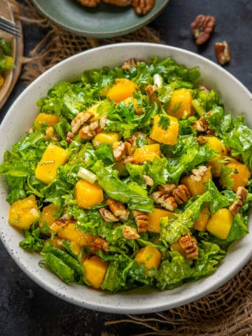 This Healthy Kale Mango Salad is a must-make recipe while mangoes are in season. It's easy to make, can be made vegan, and makes for a great light lunch or dinner.