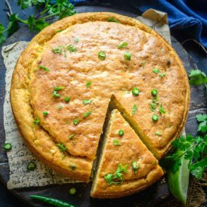 Fluffy and buttery, this Mexican Cornbread recipe is one of the best cornbreads you will ever have. The batter for this easy side dish can be made in under 10 minutes. Bake it while you do the other dinner preps.