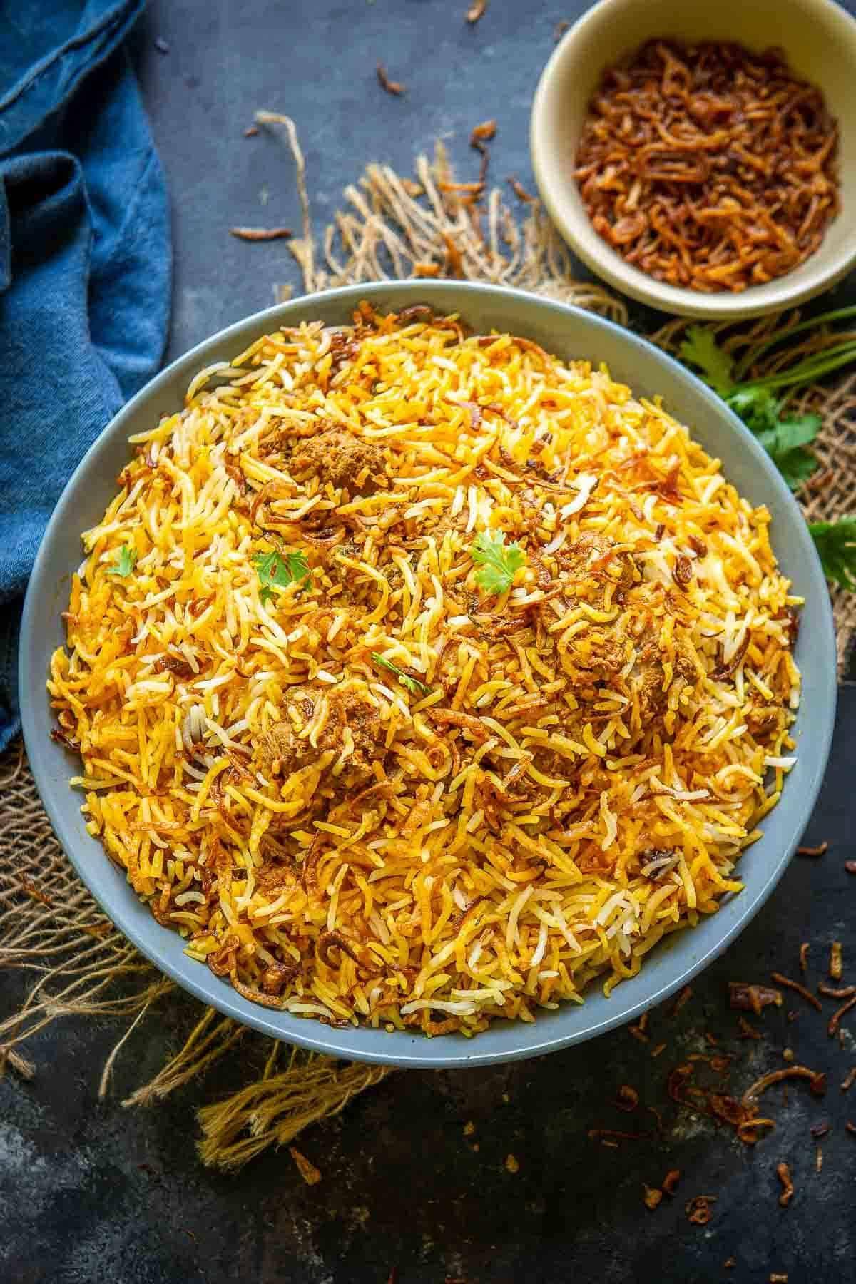 Hyderabadi Mutton biryani served in a bowl.
