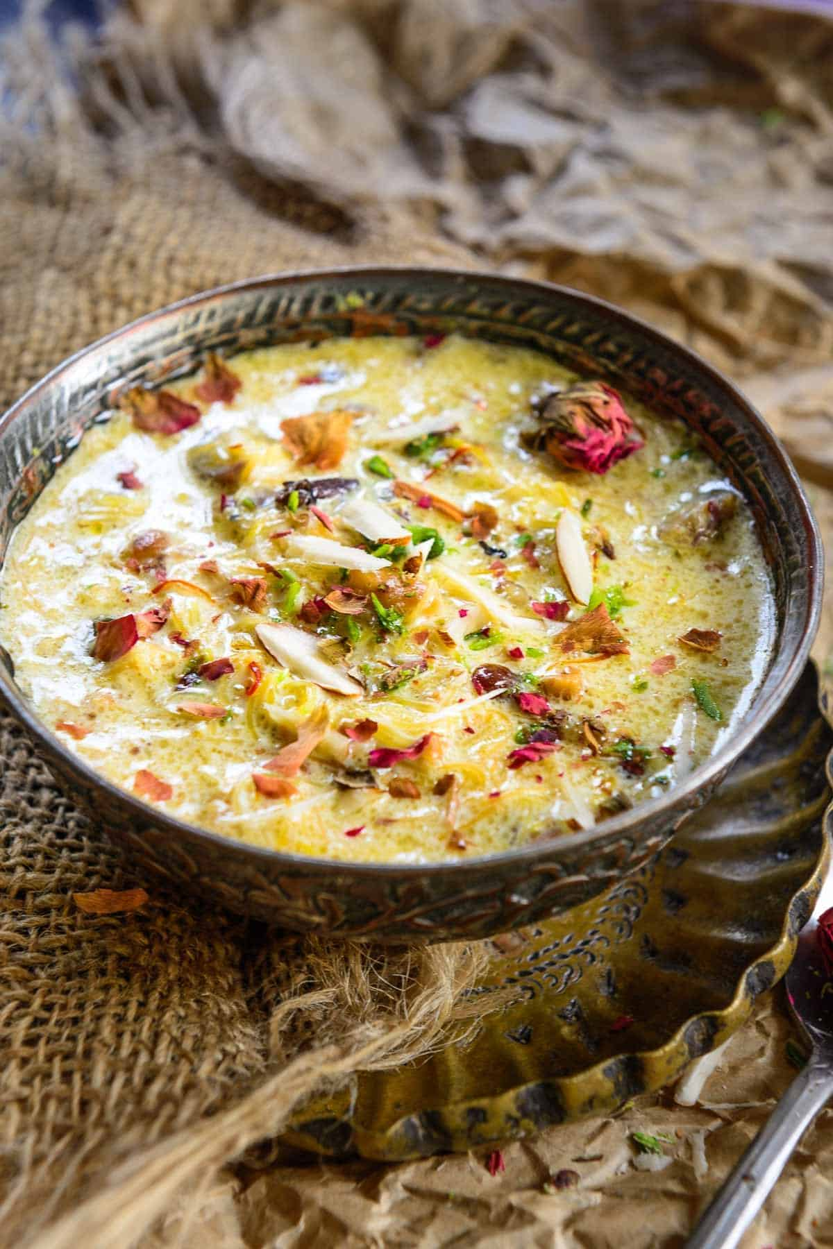 Sheer khurma served in a bowl.