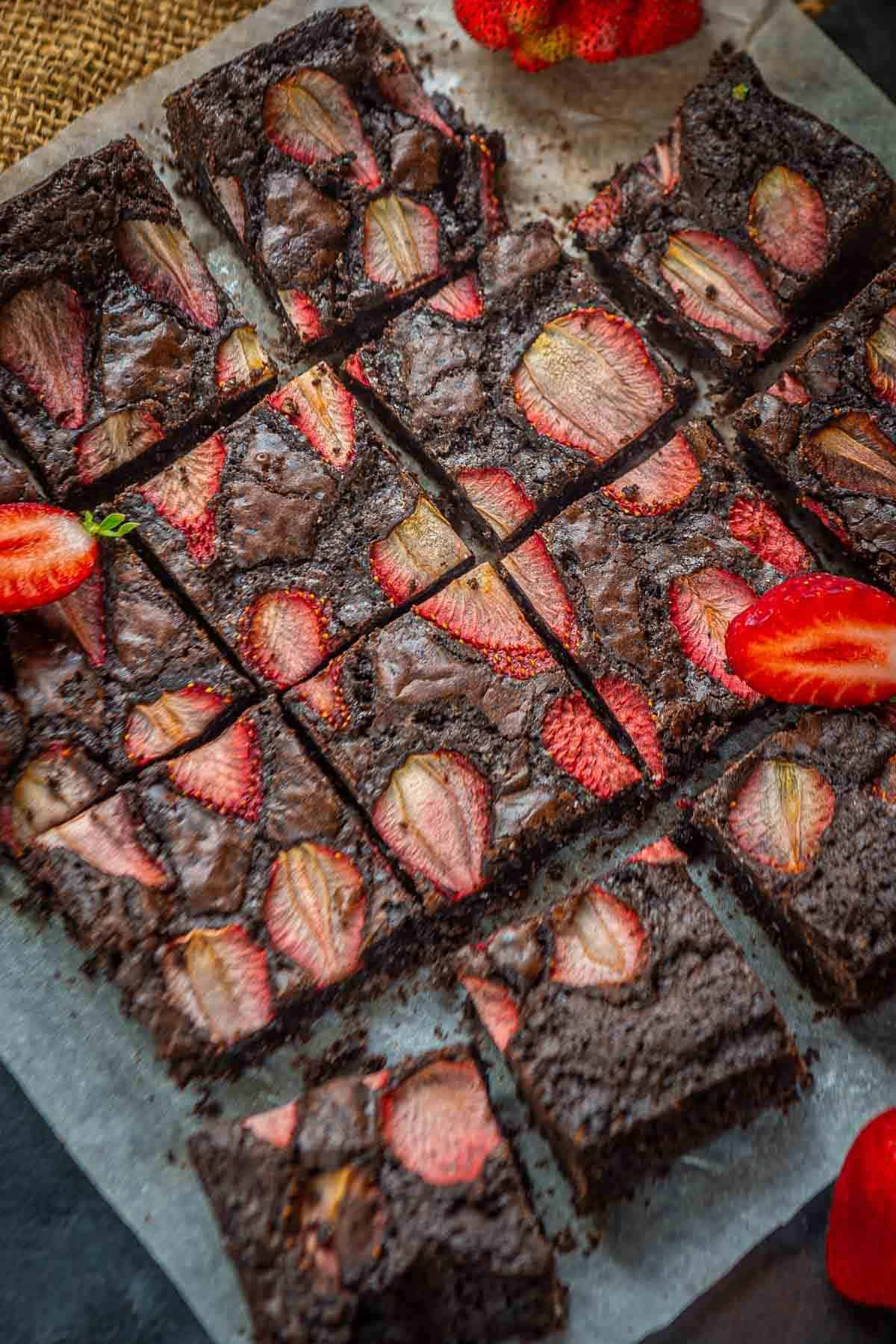 Strawberry Brownies served on a plate.
