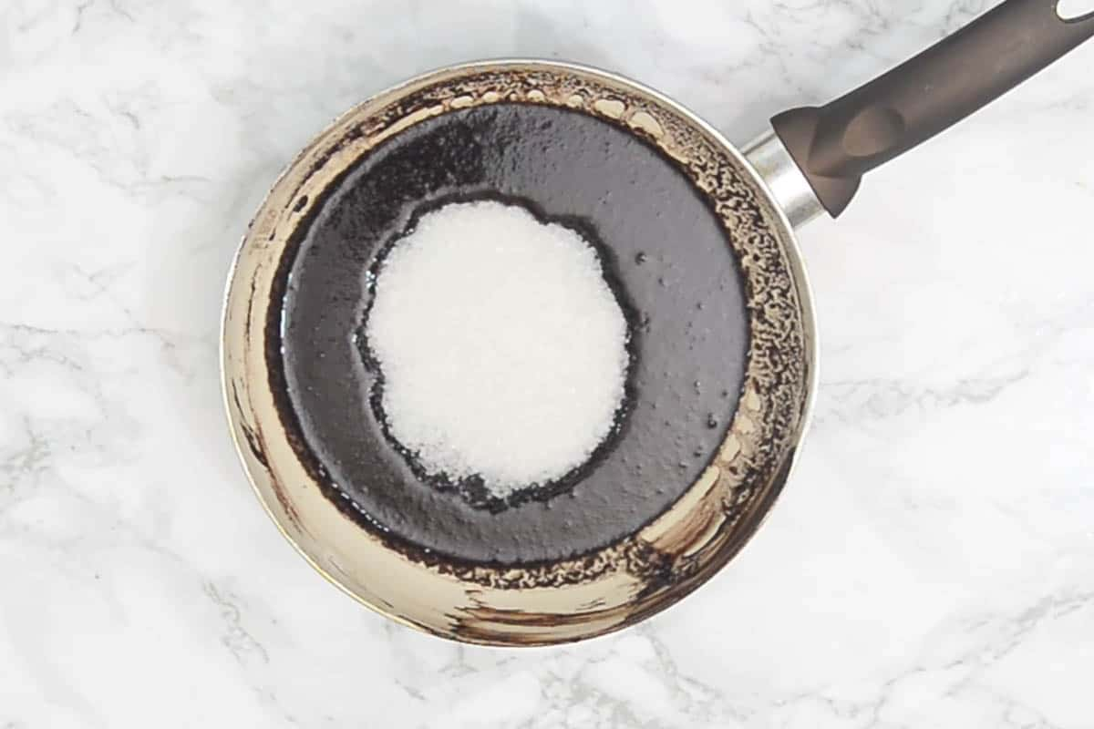 Sugar added to the pan.
