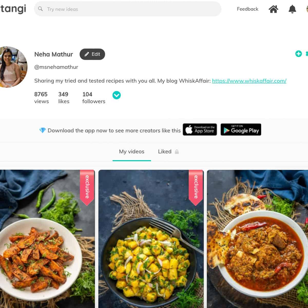 Tangi profile screen shot.