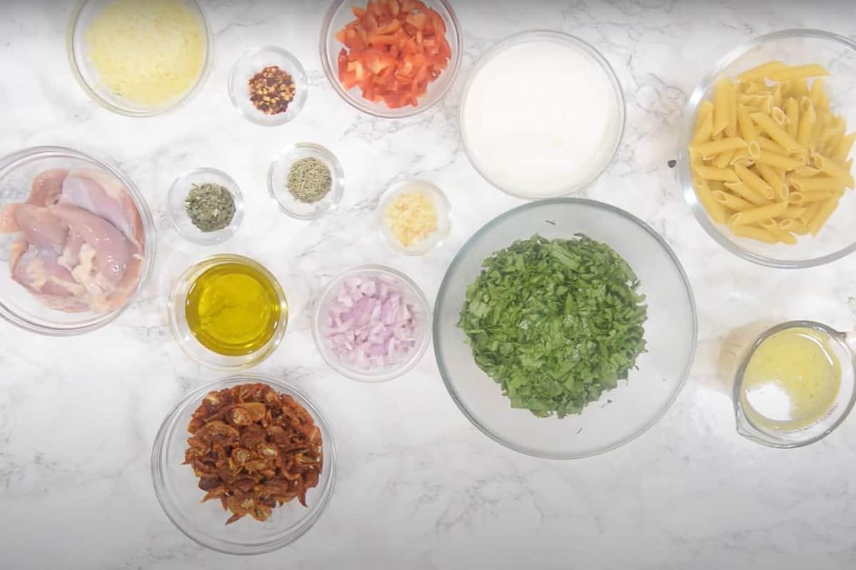 Instant Pot Tuscan Chicken Pasta Ingredients.