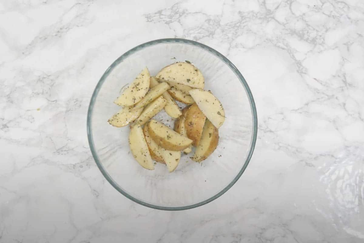 Potato wedges tossed with the seasoning.