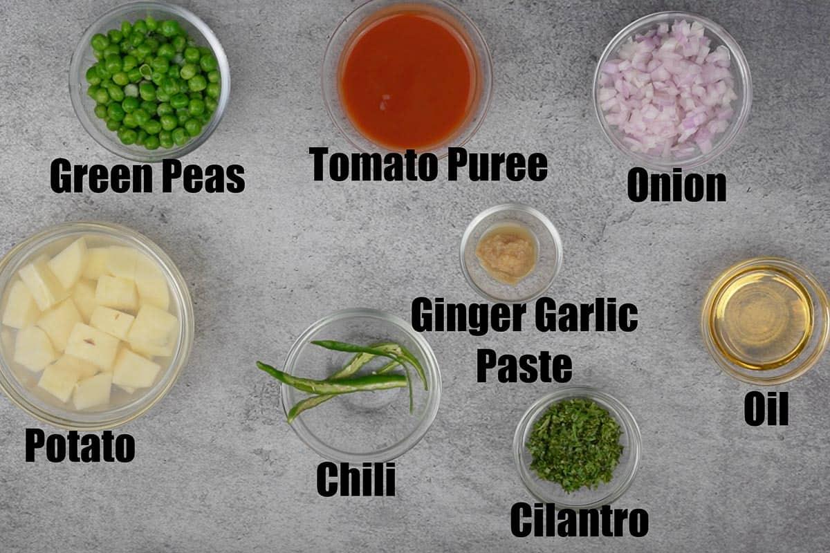 Aloo matar ingredients 1
