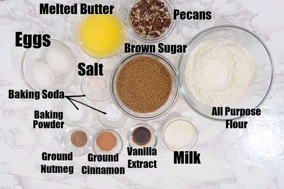 Banana Bread Muffins Ingredients.
