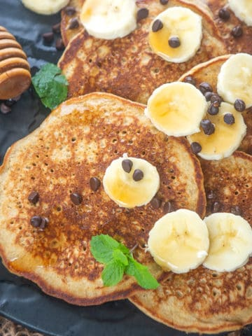These Gluten Free Banana Oatmeal Pancakes are healthy and easy blender pancakes. Make these from scratch using my simple recipe.