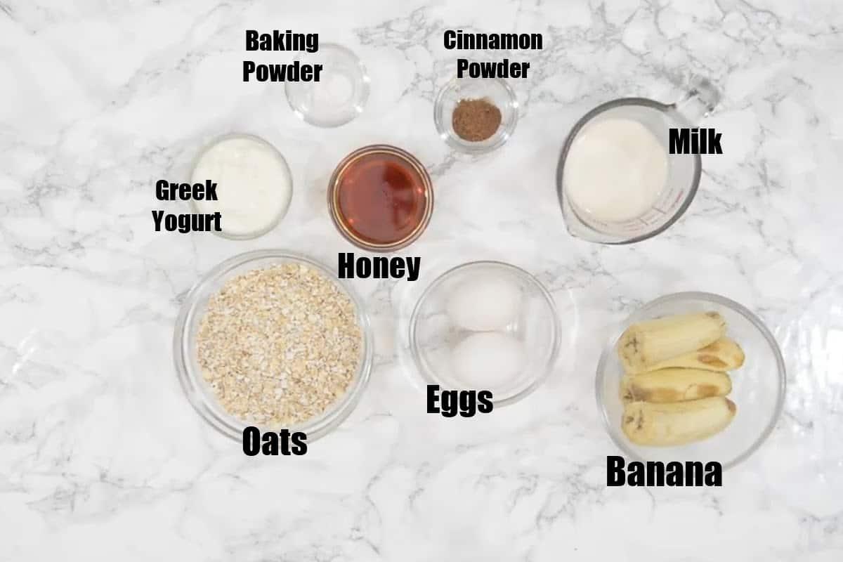 Banana oatmeal pancakes Ingredients.