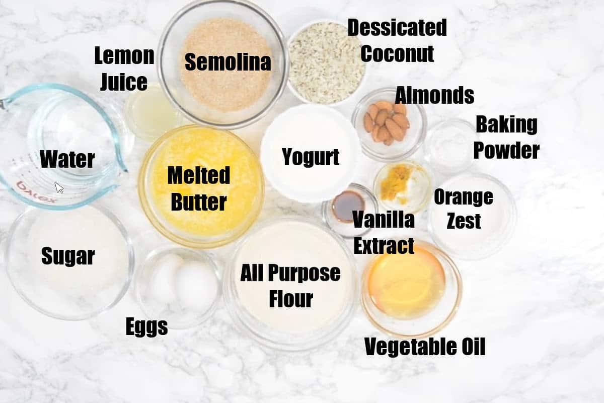 Basbousa Ingredients.