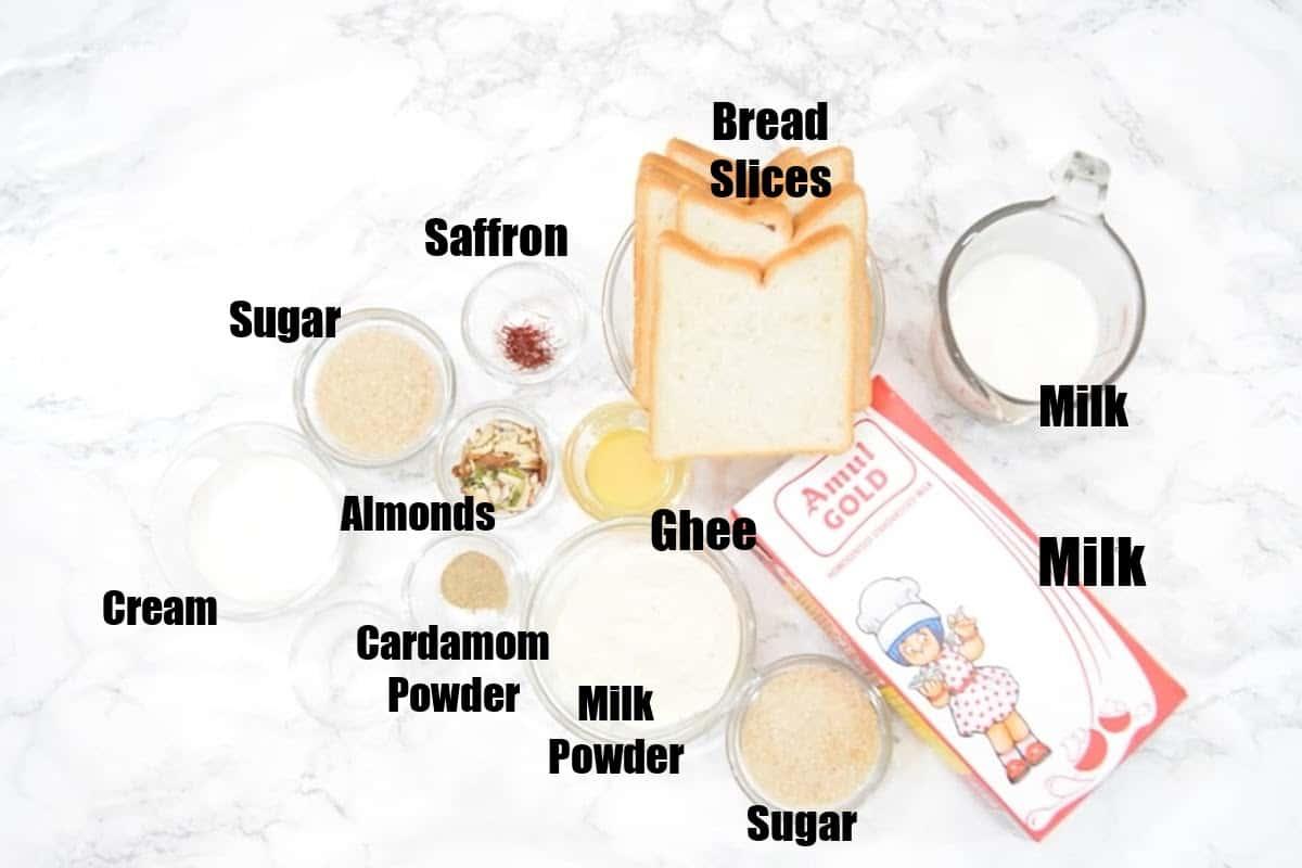 Bread Malai Roll Ingredients.
