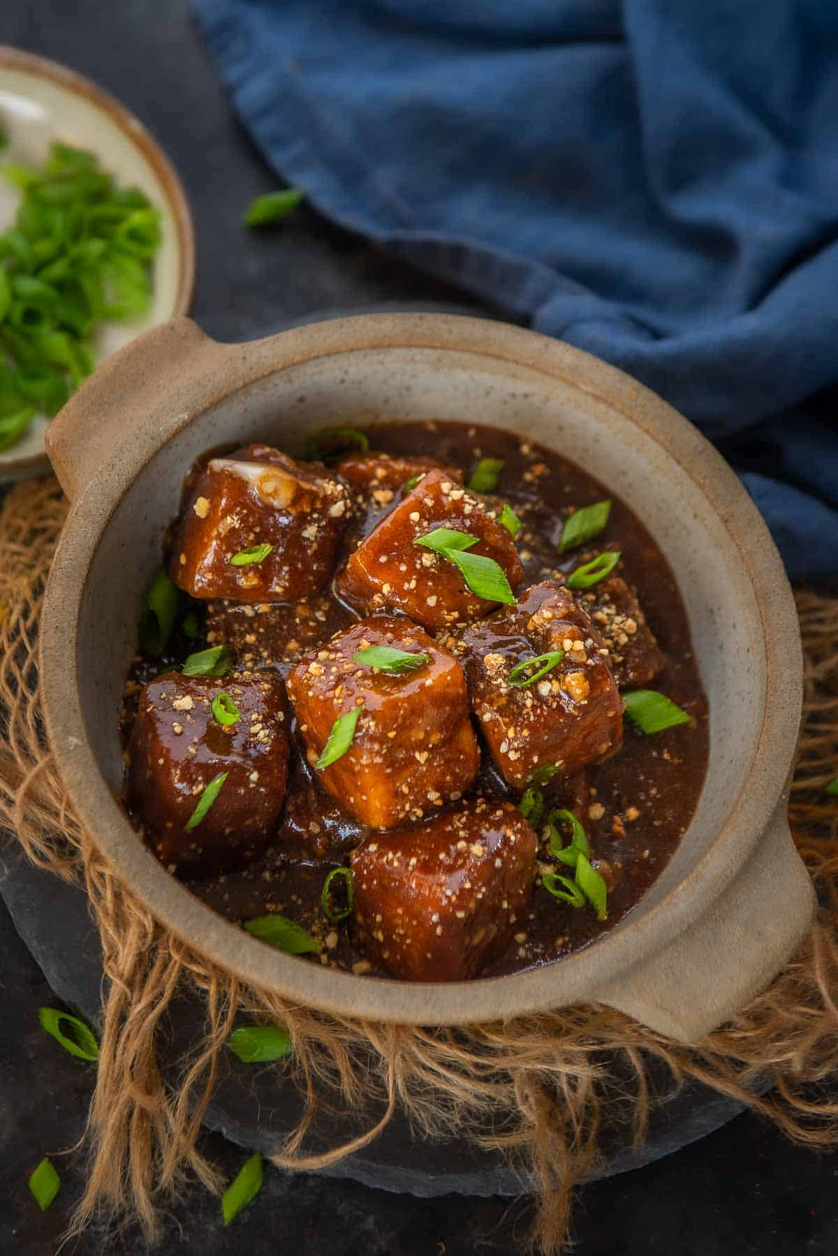 General Tso's Tofu served in a bowl.