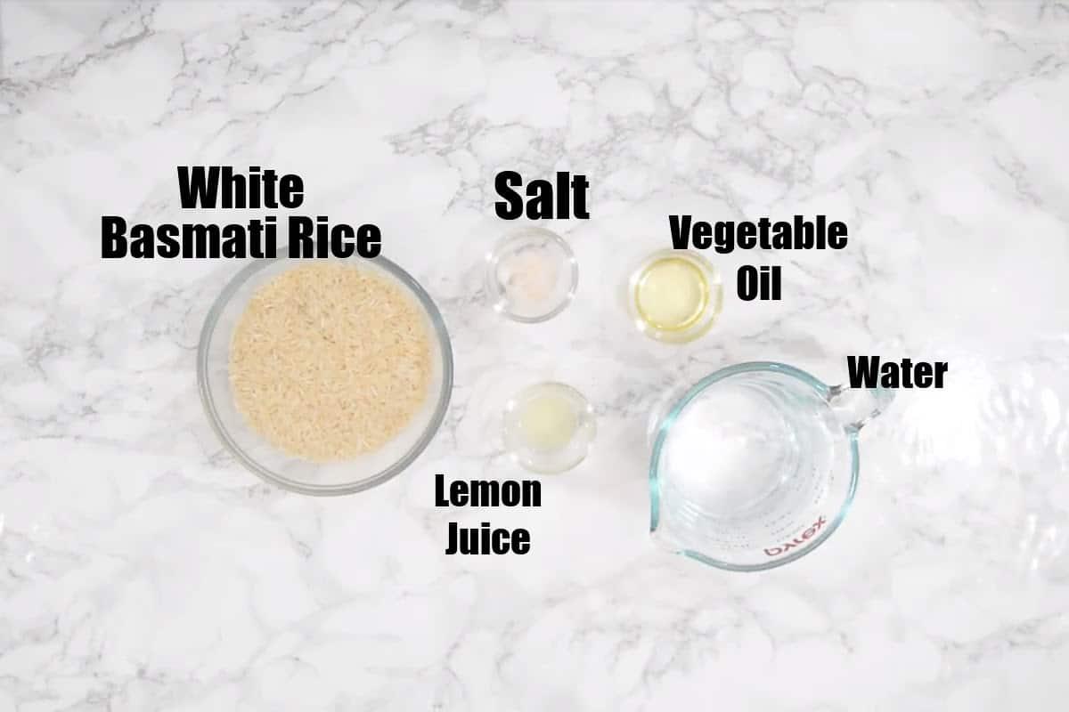 Instant Pot Basmati Rice Ingredients.
