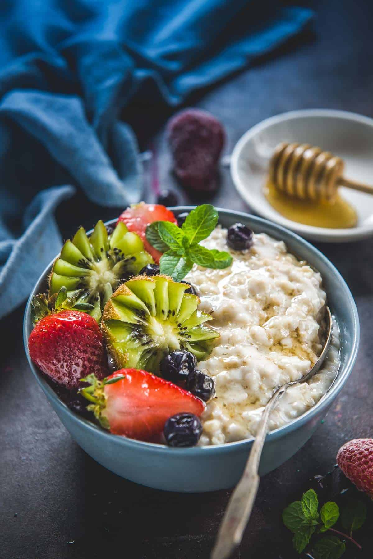 Instant pot oatmeal served in a bowl.