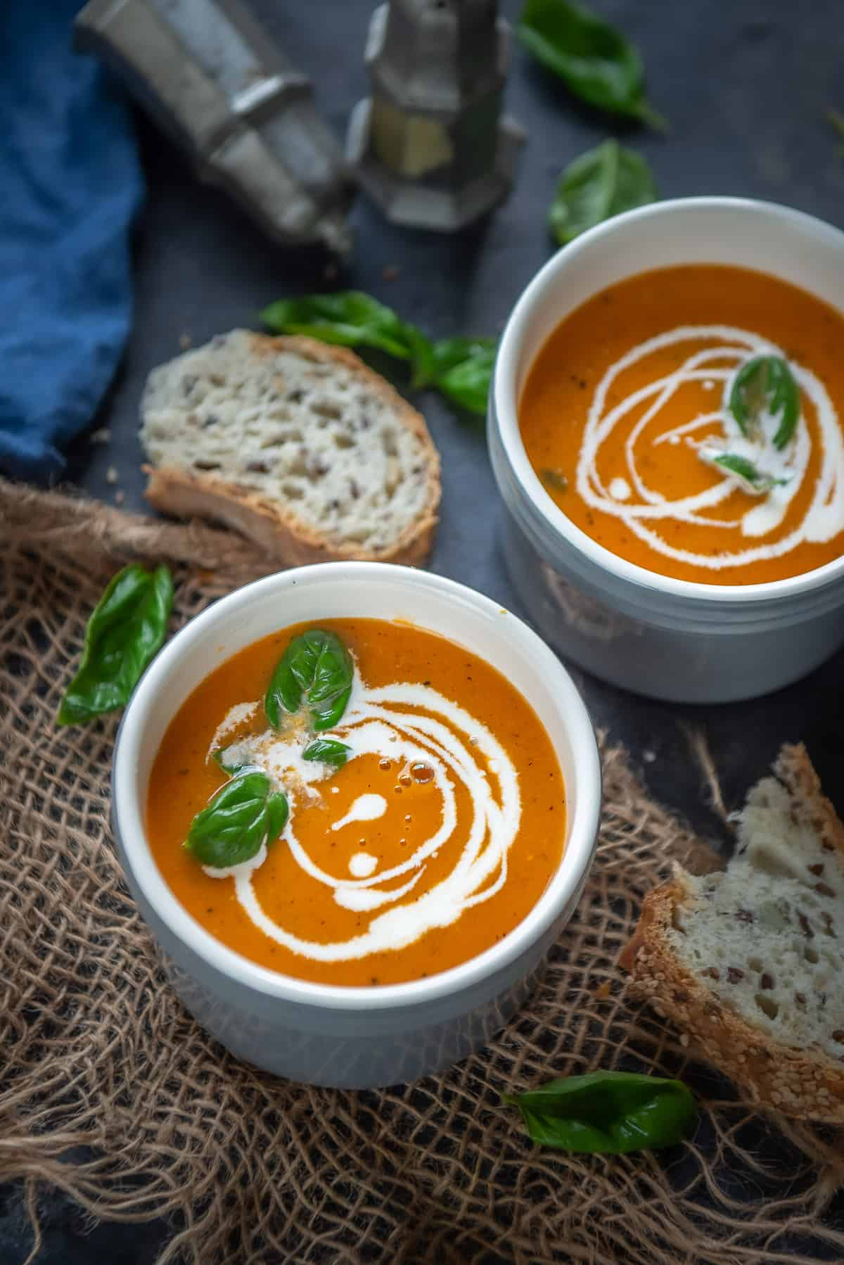 Instant Pot Tomato Soup served in a bowl.