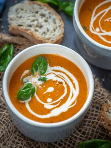 Creamy, rich, and super easy to make, this Instant Pot Tomato Soup is comfort in a bowl. Make this vegan homestyle soup in under 30 minutes and get cozy.