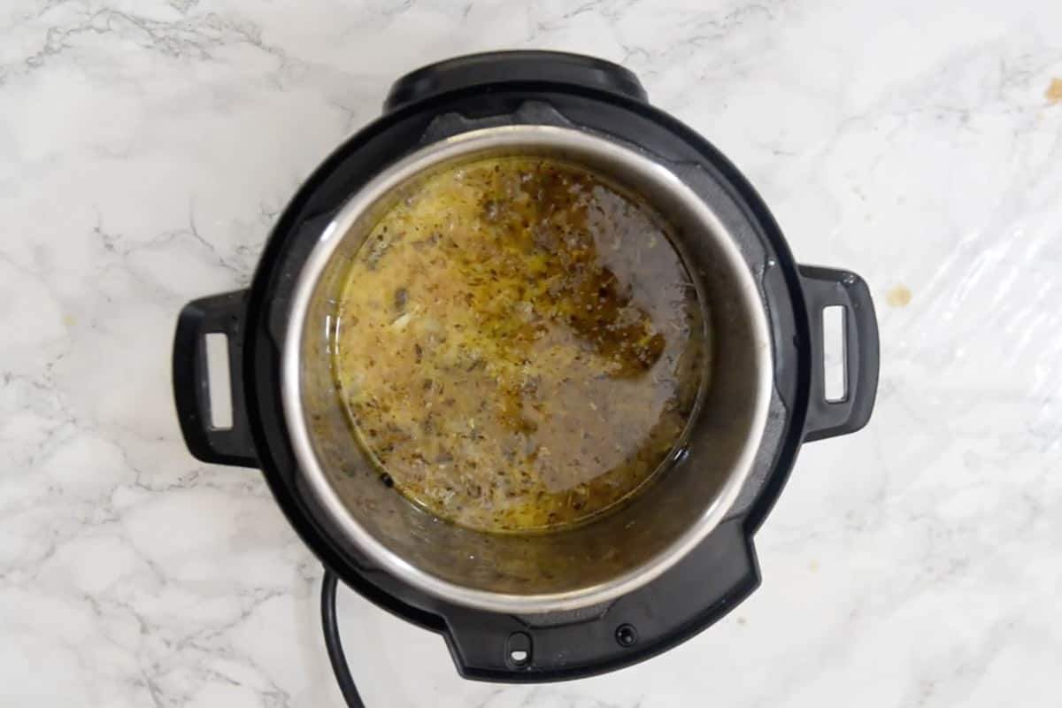 Cornstarch slurry added in the pot.