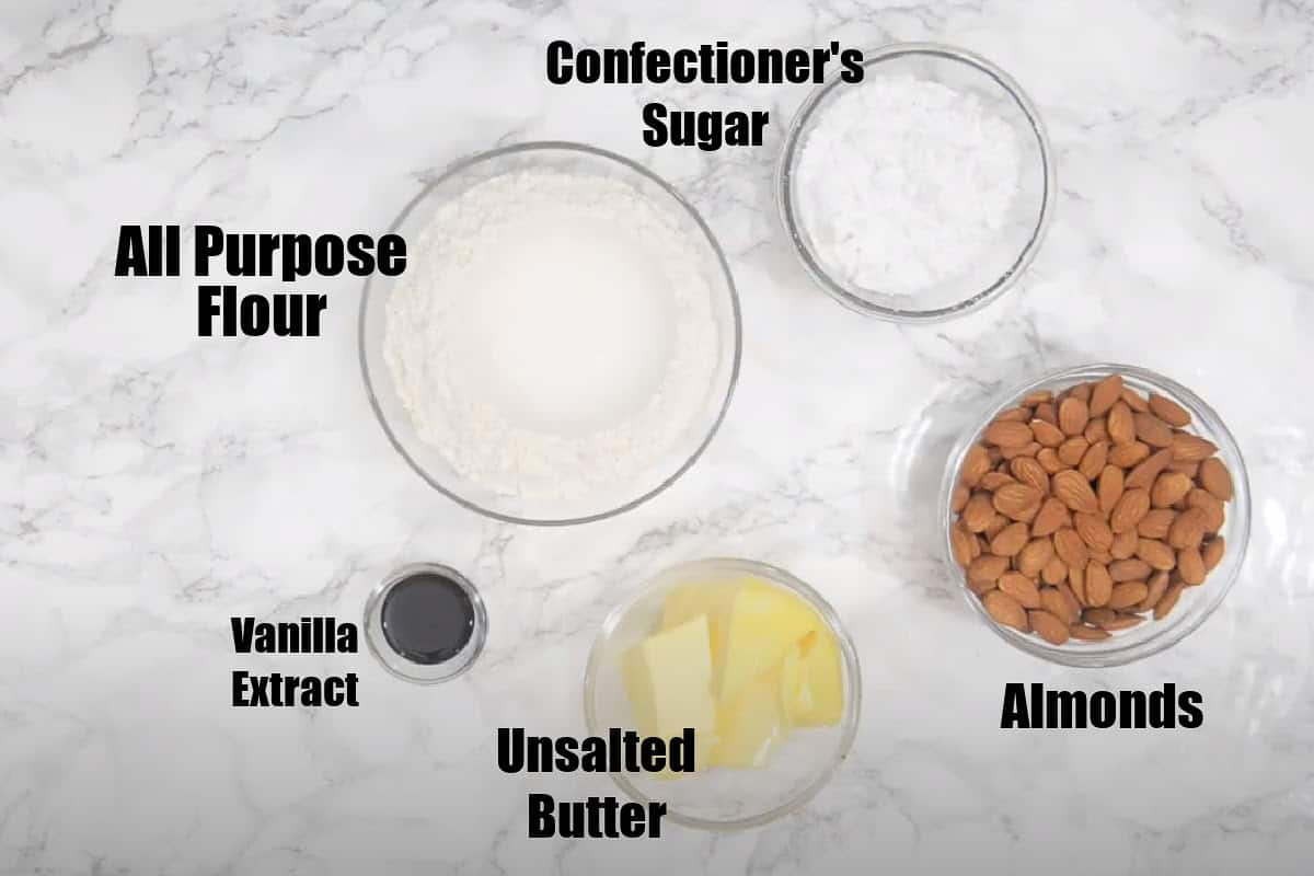 Italian Wedding Cookies Ingredients.
