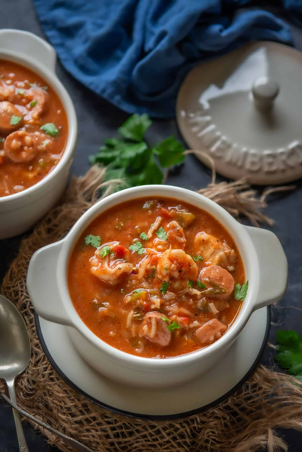 Jambalaya Soup served in a bowl.