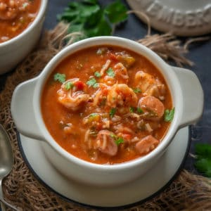 Easy, rich, and hearty, Jambalaya Soup has the goodness of veggies, a delicious tomato sauce, shrimp, sausage and rice. Here is how to make it.