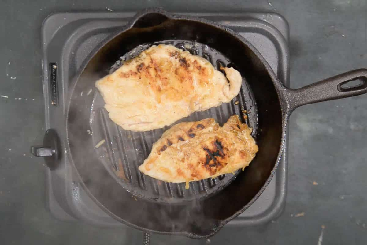Cooking chicken breast from other side