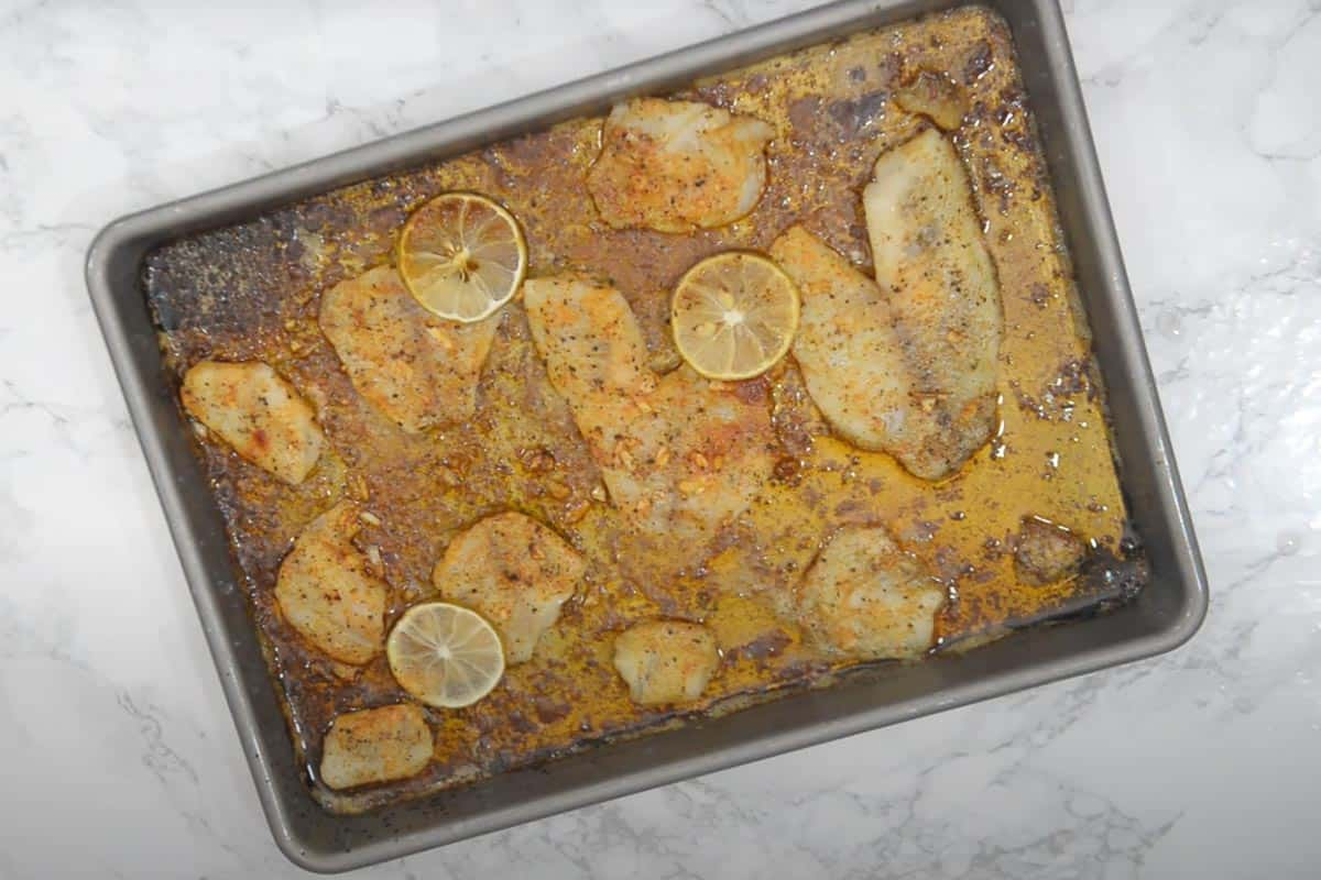 Ready lemon garlic baked tilapia.