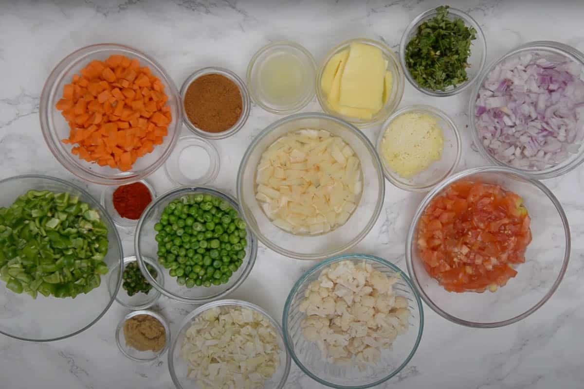 Pav bhaji ingredients