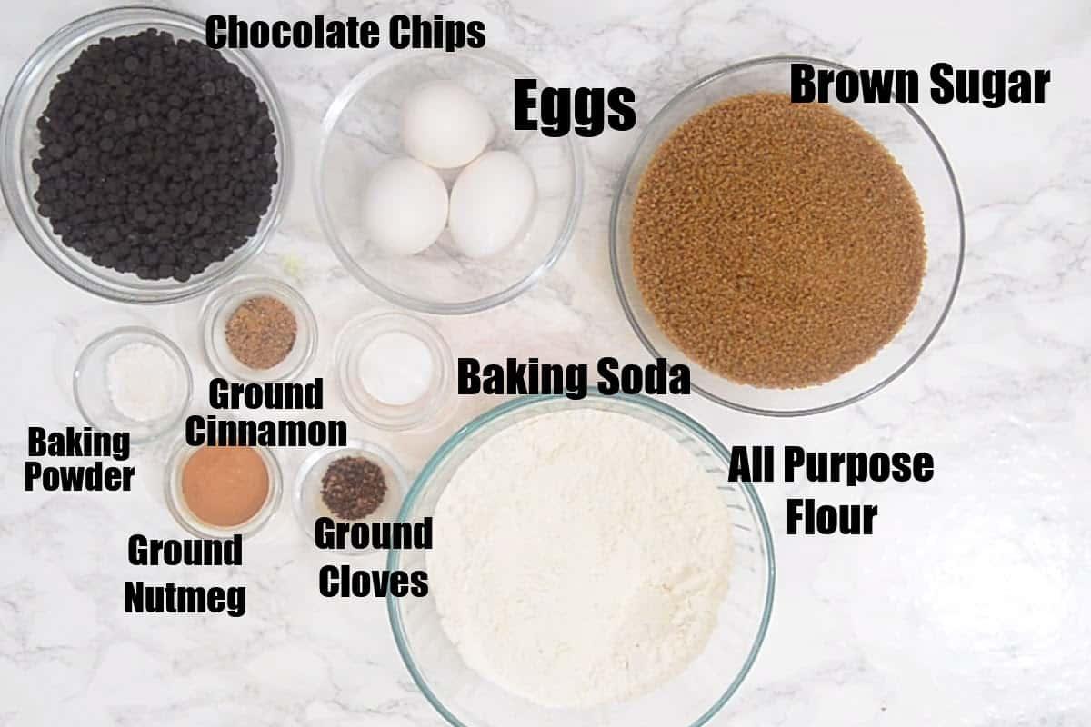 Pumpkin Chocolate Chip Bread Ingredients.